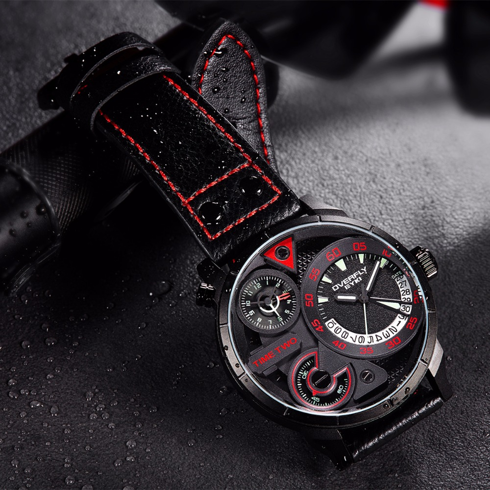 2ea33d6d880 Das Eyki Homens Marca Top de Luxo Relógio de Quartzo Relógios À Prova D   Água Esportes de Moda Masculina Couro Choque Relógio Militar Relogio  masculino em ...