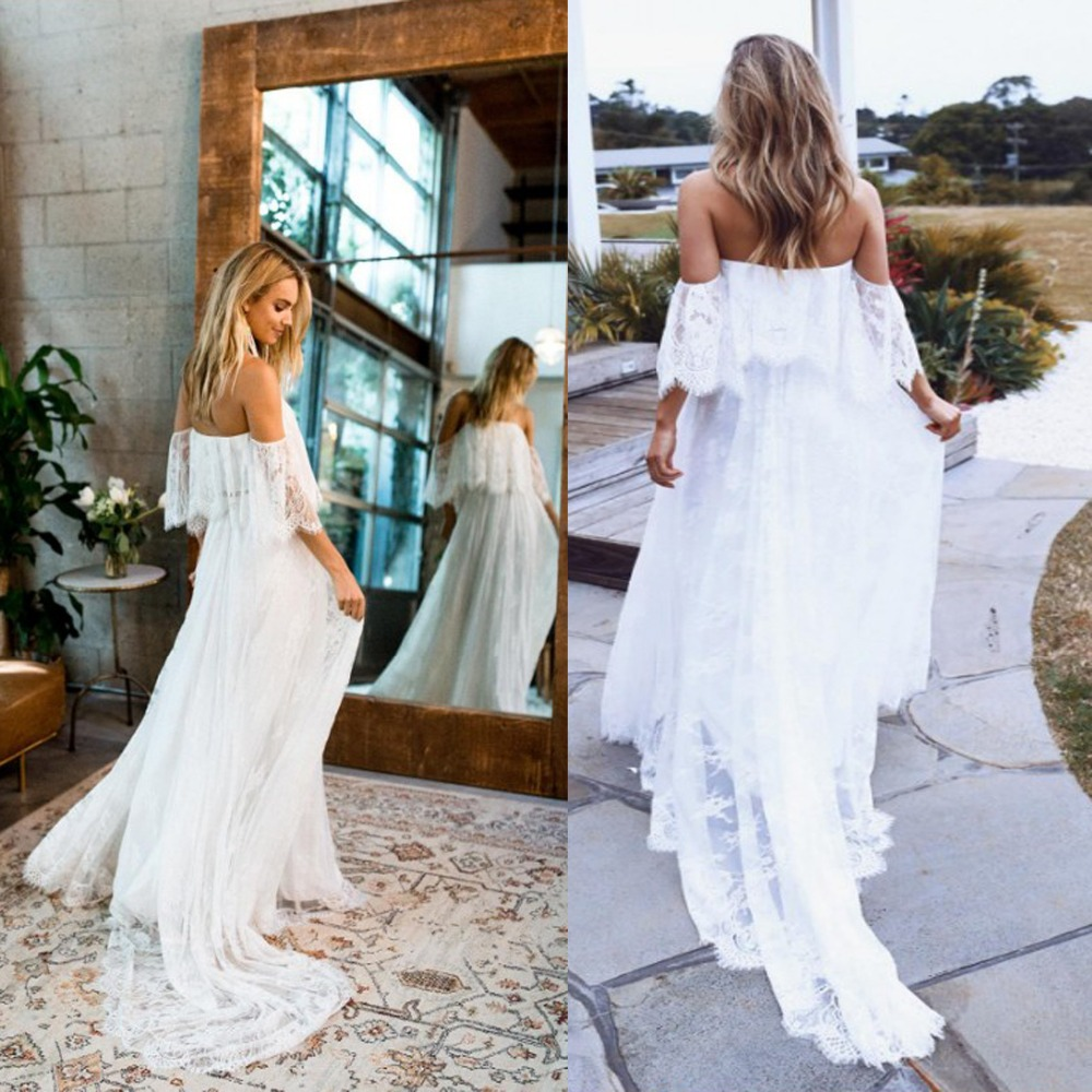 Sumemr Beach Lace Off The Shoulder Backless Wedding Dress 2020 Boho Chic Wedding Dresses Bridal Gowns Robe De Mariage