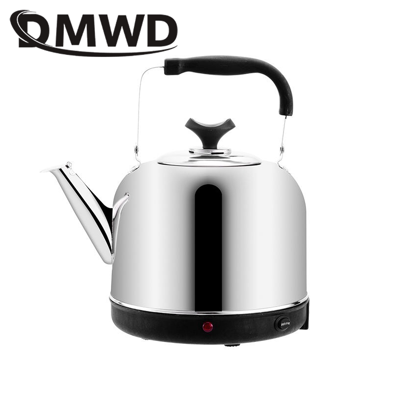 DMWD Long Spout Mouth Electric Kettle 4L Stainless Steel Thermostat Hot Water Heating Bolier Boiling Pot Heater Auto-off  Teapot
