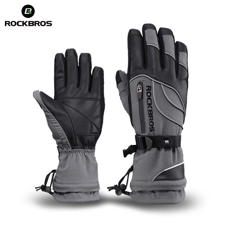 ROCKBROS Winter Ski Handschuhe Wasserdicht Winddicht Touchscreen Snowboard Handschuhe Motorrad Fleece Thermische Ski Männer Frauen Handschuhe