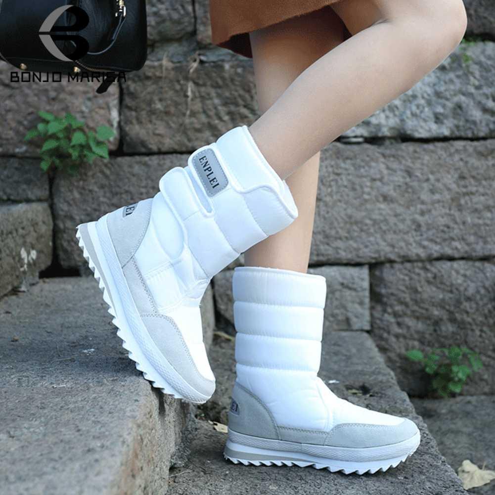 BONJOMARISA yeni kış açık su geçirmez ayakkabı kadın platformu kar botları kadın 2020 kaymaz yarım çizmeler sıcak kürk patik