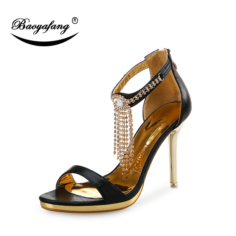 BaoYaFang 2018 New Arrival Summer Sandals Crystal Tassel Ladies Sandals Gold Metal Heel Female Party Sandals