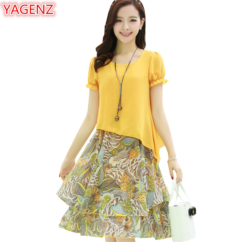 YAGENZ Temperament Chiffon Dress Female Floral Dress Plus Size 5XL Summer Dresses Womens Medium Length A-Line Dress Casual 1011