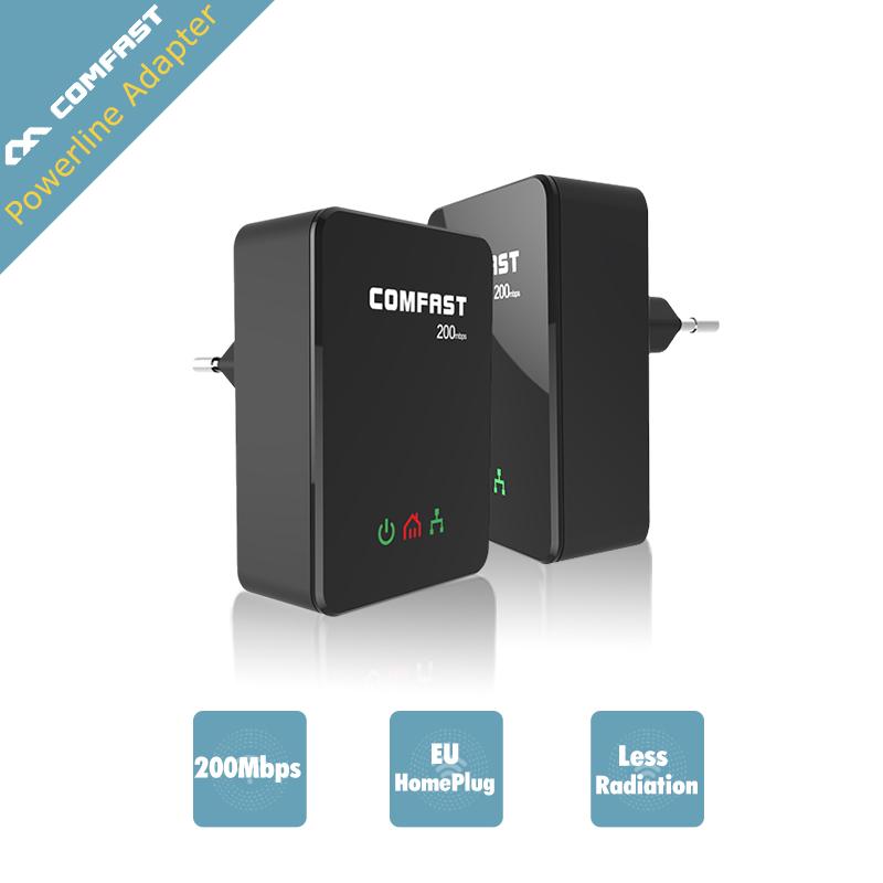 Prix pour COMFAST 200Mbp 2.4 GHZ Ethernet powerline adaptateur Mini plc L'UE homeplug Élargir le réseau Ethernet adaptateur de ligne électrique KITS CF-WP200M