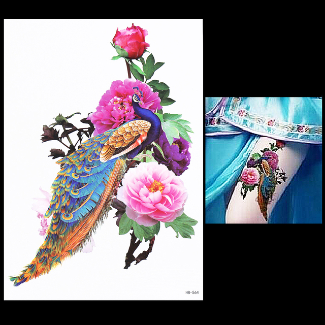 US $0 89 20% OFF|1 Sheet Colorful Peacock Drawing Peony Flower Tattoo  Design HB564 Sexy Women Men Body Art Temporary Tattoo Sticker Decal  Product-in