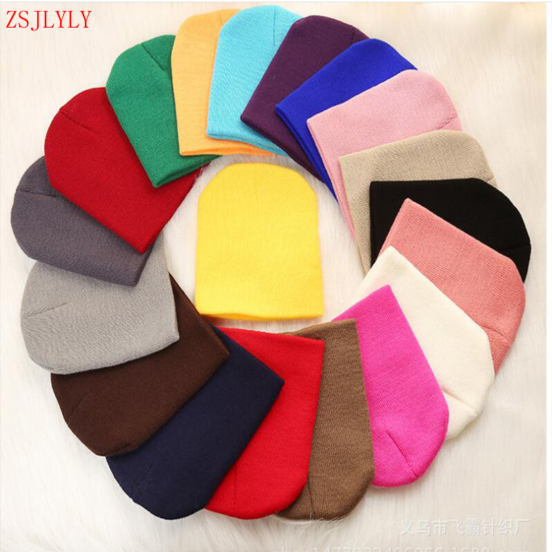 ZSJLYLY Autumn Winter Warm Solid Baby Hat Children's Hats Boys Girls Cotton Cap Child Knitted Wool Caps Newborn Candy Color Hat
