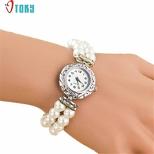 OTOKY Willby Women Girl's Fashion Brand New Pearl Beads Quartz Bracelet Watch 161213 Drop Shipping