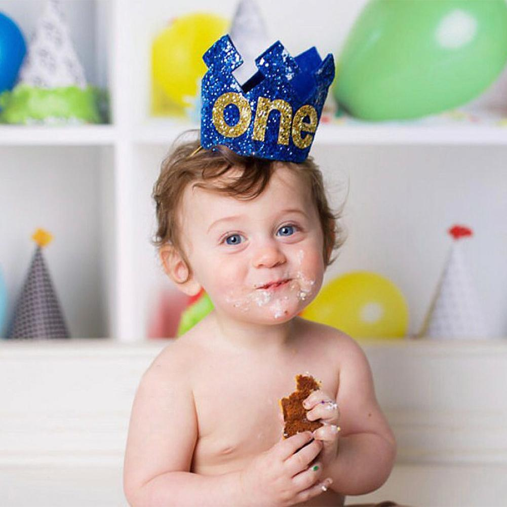 Boy Blue Gold First Birthday Hat Glitter Girl Princess Crown Number 1st 2 3 Year Old Party Baby Shower Decor Headband In Hats From Home Garden On