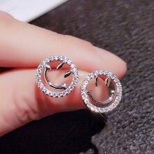 Utimtree New 2019 Korean Lovely Women 925 Sterling Silver Smiley face Stud Earrings Jewelry Simple Round CZ Zircon Earring Girl