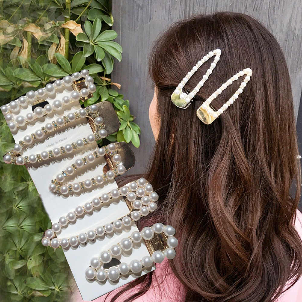 Fashion handmade Gold Color 1PC Pearl Imitation Hair Clip Snap Barrette Stick Hairpin Hair Styling Accessories For Women Girls