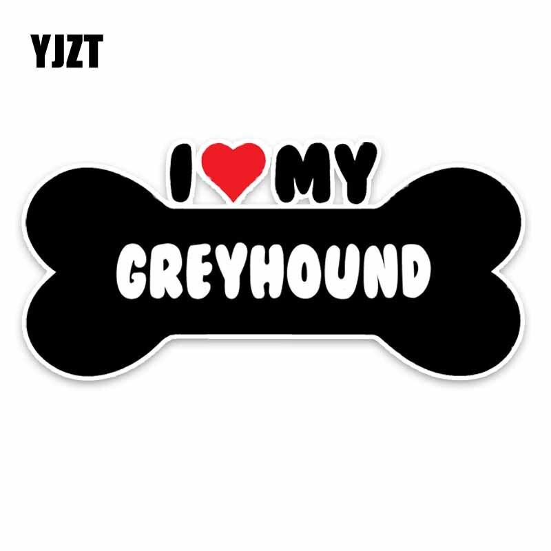 YJZT 15*7.1CM I Heart My Greyhound Bone PVC Car Bumper Car Sticker Decals C1-4178