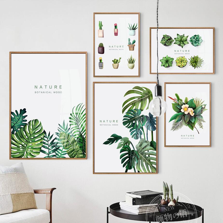 Nordic Woondecoratie Groene Plant Muur Moderne Wall Pictures Voor ...