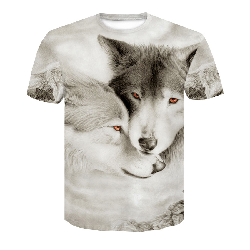 Men's   T  -  shirt   3D Harajuku Wolf Cool   T  -  shirt   Summer Gray and white Fashion Short Sleeve Tops Unisex round neck   T     shirt   S-4XL