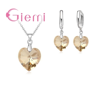Hot Sell Exquisite Heart 925 Sterling Silver Earrings Necklaces Sets for Girls Ladies Austrian Crystal Wedding Accessories 4