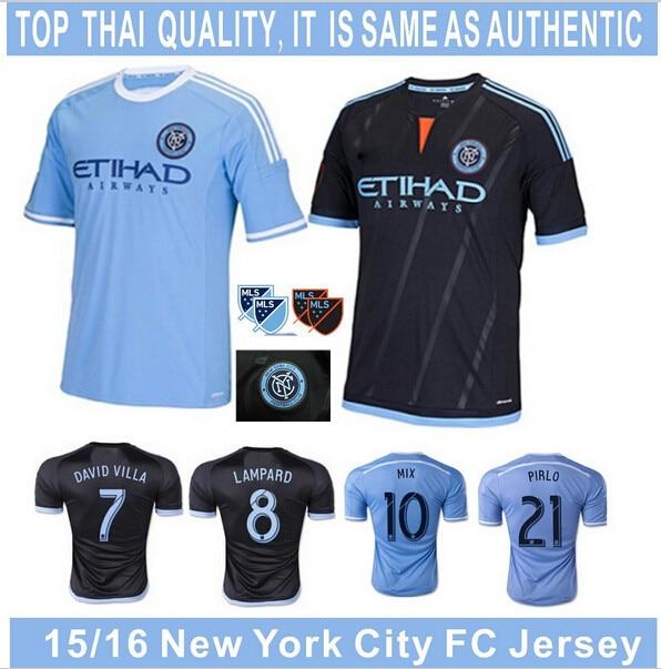 09d30cacdfd Soccer Jerseys New York City FC Jersey 2016 PIRLO NYCFC Jersey 15 16 Home  Sky Blue Away Black Football Shirt DAVID VILLA LAMPARD