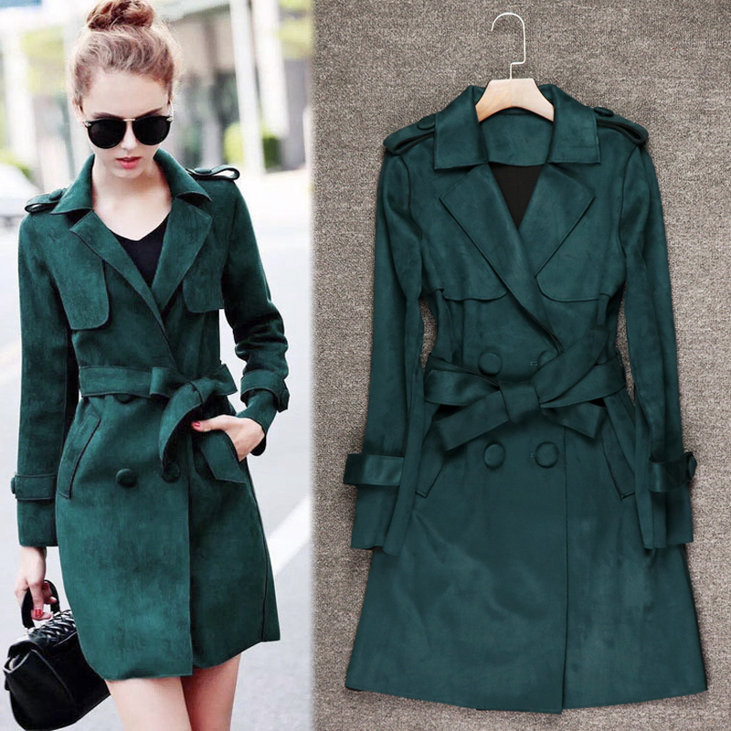 2018 Europe Style Women Solid Medium Long   Trench   Faux Suede Fabric Female Slim Full Sleeve Coat Double Breasted High Quality Hot