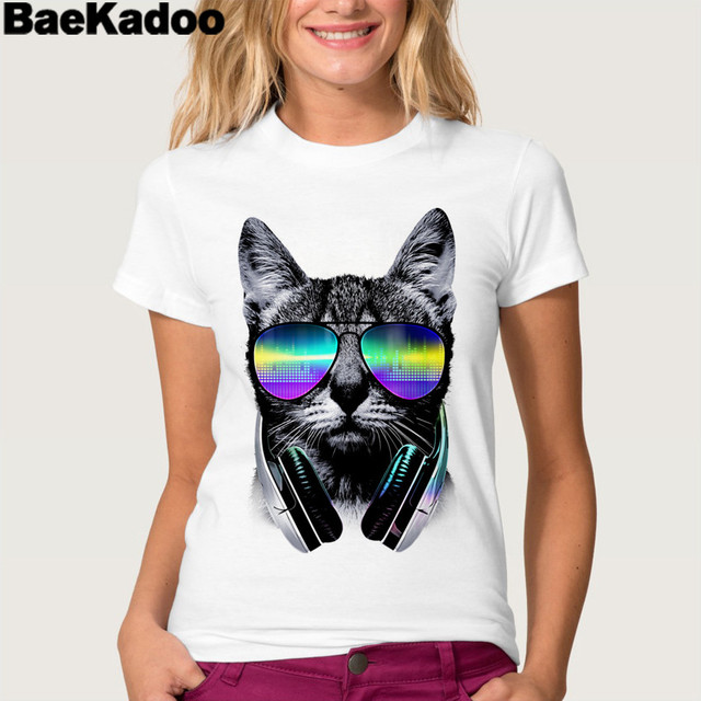 f7d57ac602c9d BAEKADOO Moda T camisas Caixa óculos de Sol da Cópia Do Gato de Manga Curta  T