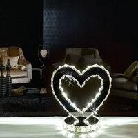 Свадебная домашняя Настольная лампа для мебели современная гостиная спальня прикроватная лампа хрустальная лампа в форме сердца светодио