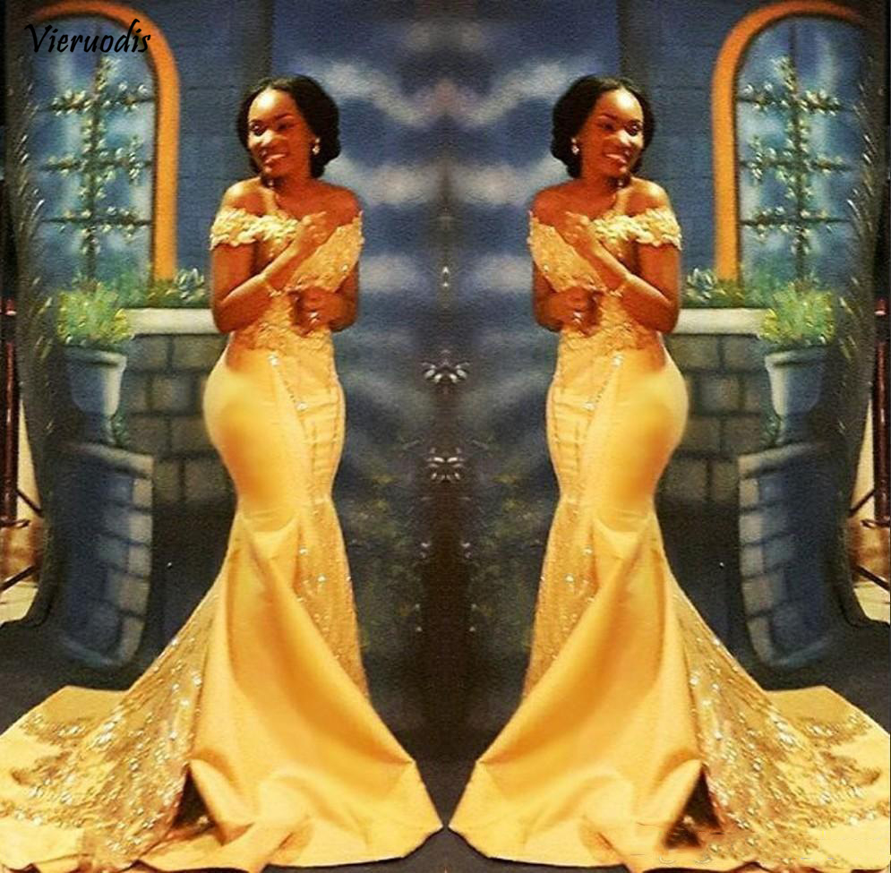 27-1 Elegant Yellow African Mermaid Prom Dresses Long 2019 Formal Off Shoulder Luxury Beading Crystal Satin Arabic Trumpet Evening Gowns
