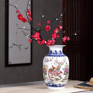 Image 5 - Сине белая керамическая ваза, фазан, фарфоровый цветок, старинная китайская фигурка, ваза с узором истории, ручная работа, цзиндэчжэнь, цветочные вазы