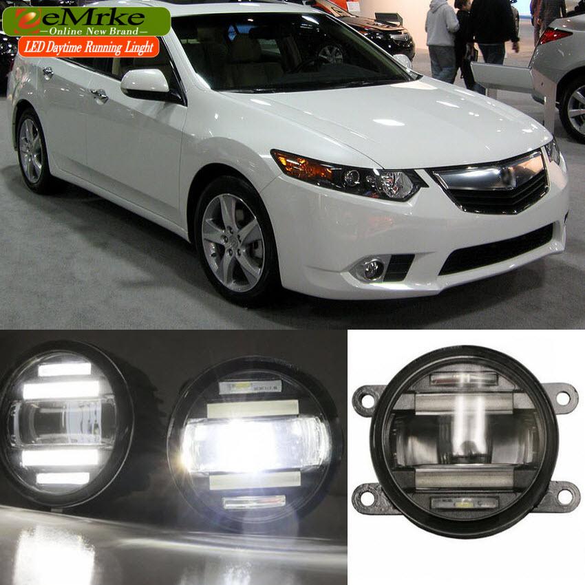 EeMrke voiture style pour Acura TSX Honda Accord 2 en 1 multifonction LED antibrouillard DRL avec lentille feux de jour