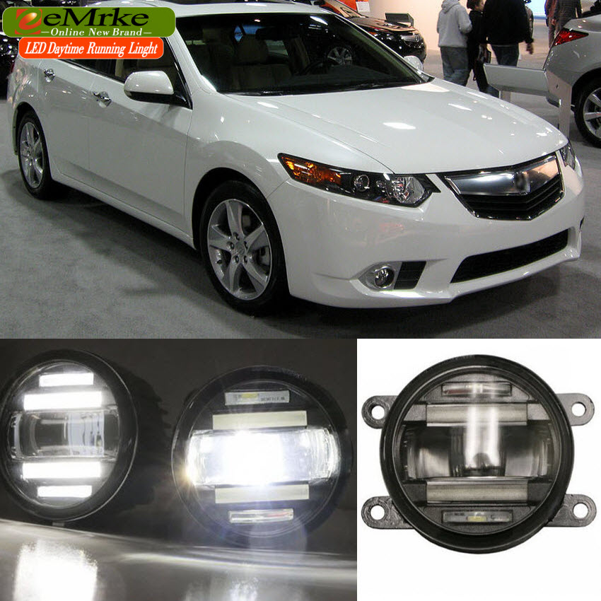 eeMrke Car Styling For Acura TSX Honda Accord 2 in 1 Multifunction LED Fog Lights DRL With Lens Daytime Running Lights eemrke car styling for opel zafira opc 2005 2011 2 in 1 led fog light lamp drl with lens daytime running lights