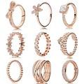 Colección de anillos de plata con oro de Rose plateado 925 Anillo de plata esterlina para las mujeres flores anillos Memnon joyería fina conjunto