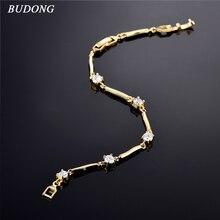 BUDONG Women Fashion Infinity Bracelet Silver/Gold-Color 18cm/7″ Bracelets Chain Crystal CZ Crystal Wedding Jewelry XUL008