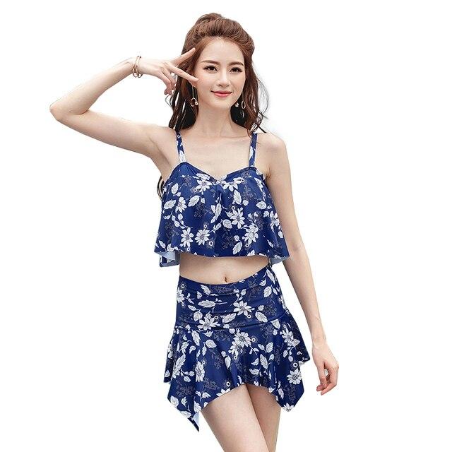 e1247e8cf95e7 Stylish Summer High Waist Swimsuit Skirt Sexy Swimwear Two Pieces Swim Set Top  Bottoms Plus Size Bathing Suit Push Up Beachwear