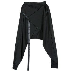 Image 5 - [Eam] 2020 primavera preto solto cintura elástica rendas até emendado personalidade casual harem calças moda nova feminina la982