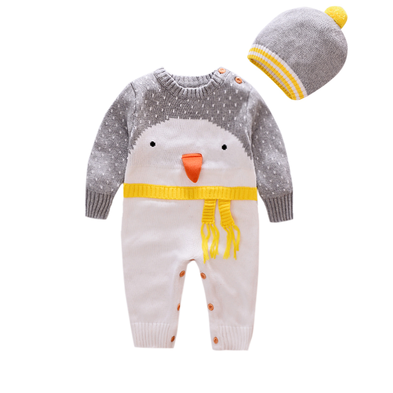 Christmas cute penguinbaby Rompers Knitwear soft Sweater kids one piece Jumpsuits Pajamas infant girl boys clothes baby costumes