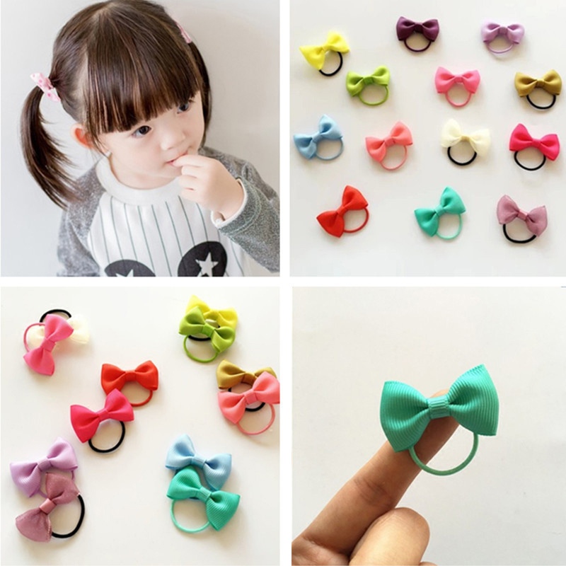 Rope Headwear Bows Hair-Bands Ribbon-Hair Elastic Baby-Girl 10pcs/Lot Colorful
