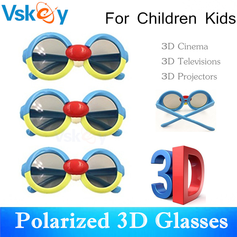 VSKEY 3pcs Children Passive Polarized 3D Glasses For 3D Televisions RealD Cinema Home Theaters Tvs Kids Glasses