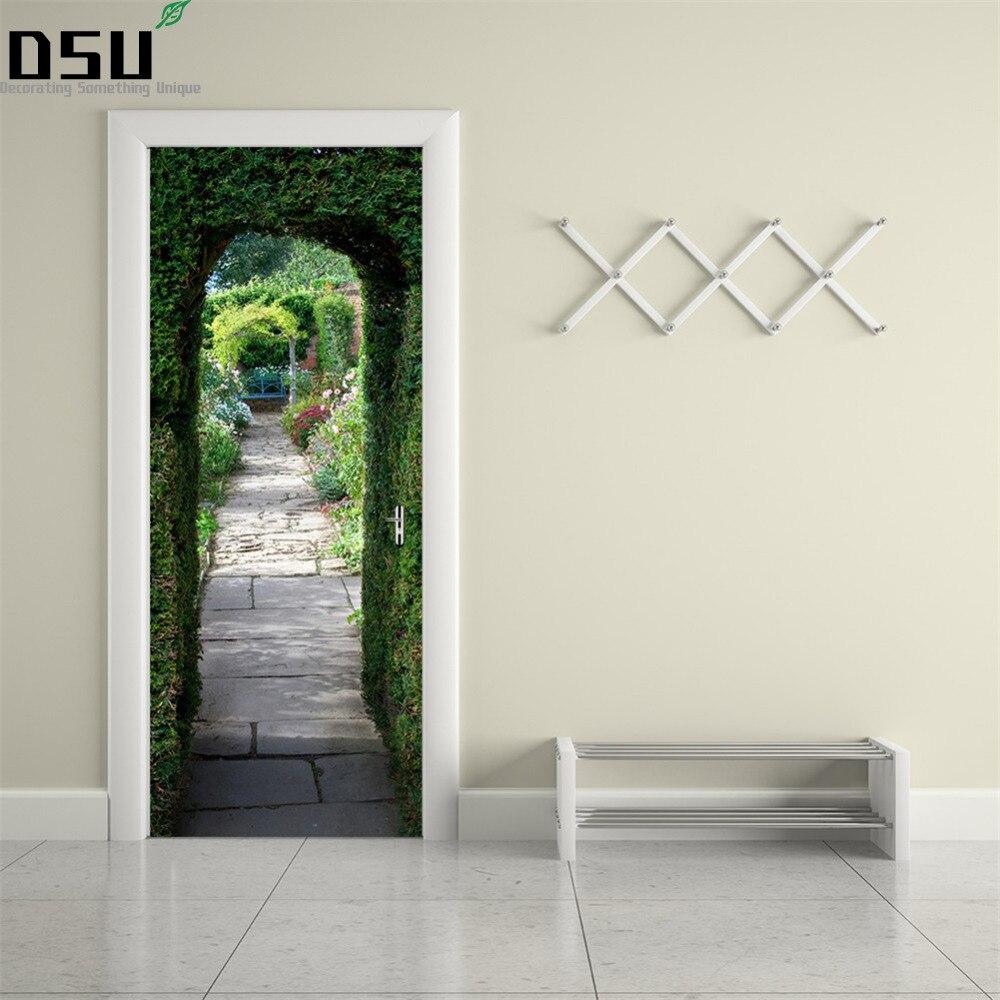 3D DIY Green Plant Pattern Wall Door Stickers Mural Poster PVC 2pcs/set Waterproof Door Decal Refrigerator Sticker Home Decor