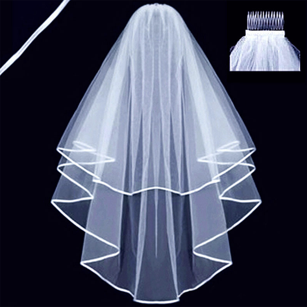 Fansmile Bridal Veil With Comb White/Ivory Wedding Accessories Free Shipping FSM-639V