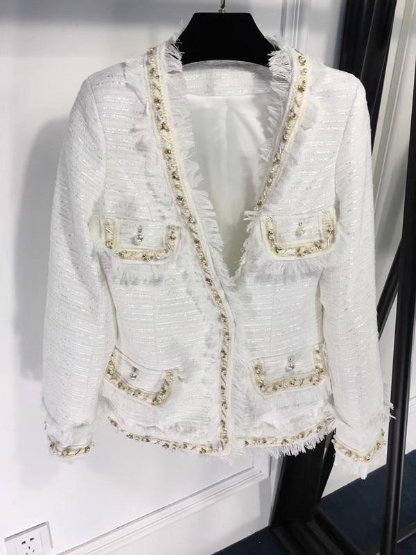 Gland Mode Gagnant Perle Femmes De 2018 Veste Tweed Manteau H ZfqwnYF