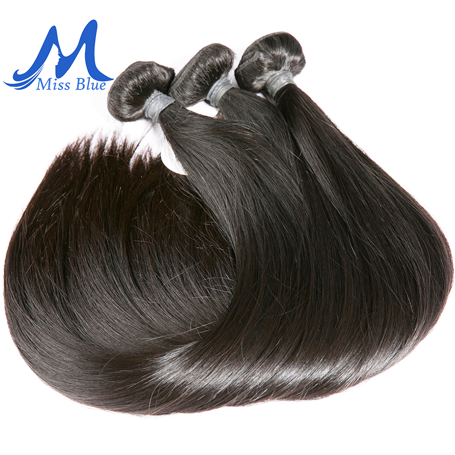 Missblue 10A Mink Quality Brazilian Virgin Hair Bundles Straight Grade 10A Raw Human Hair Weave Bundles Extensions 1 3 4 P/Lots 3