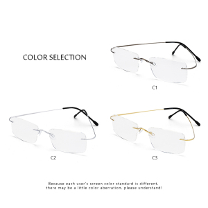 Image 5 - Titanium Mens Rimless Glasses Frame Women Transparent Eyeglasses Optical Myopia Business Clear Spectacle Frame Fashion #CT001