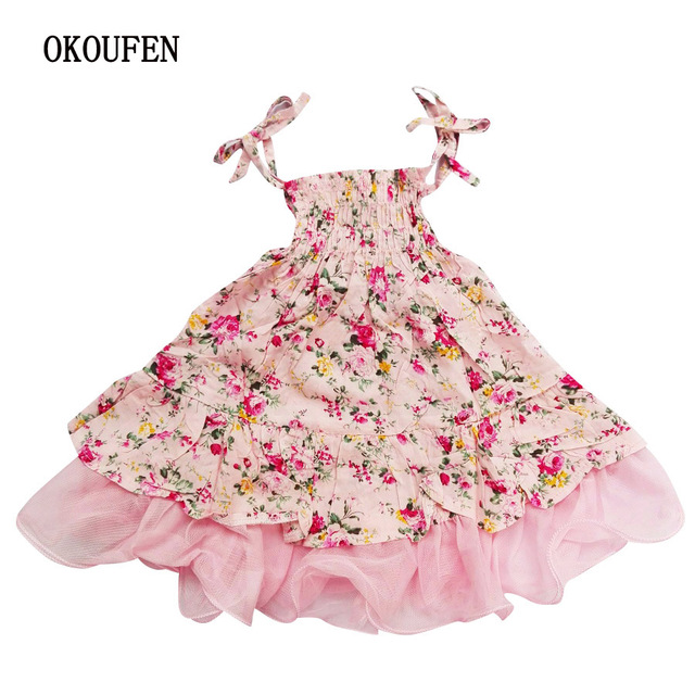 7ed532a6b6 US $11.99 |Floral Print Baby Girls Dresses Beach Summer Brand Party  Princess Dress For Girls Costume Vintage Kids Toddler Girl Clothes-in  Dresses from ...