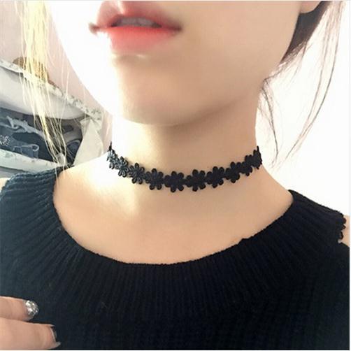 Эластичные чокеры, ожерелья для женщин, Черное кружево, полые цветы, короткие ключицы, ожерелье, модные ювелирные изделия, готический стиль, бижутерия, стимпанк - Окраска металла: N715