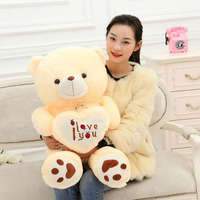 90/110cm BIG I Love You Teddy Bear Stuffed Plush Toy Holding LOVE Heart Soft animal Doll Gift for Valentine Day Girls' Birthday