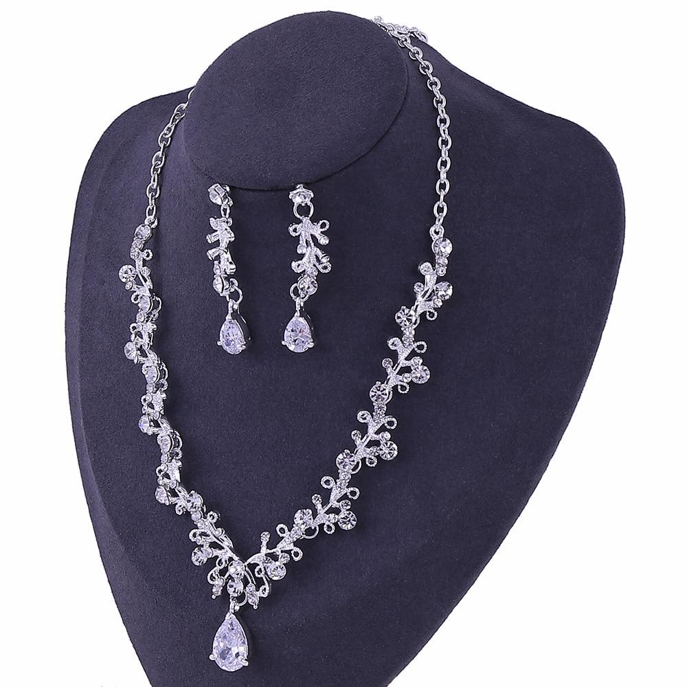 7 - Luxe Noble Feuille De Cristal, Bijoux De Mariée Strass Couronne Diadèmes Collier Boucles D'oreilles, Perles Africaines,
