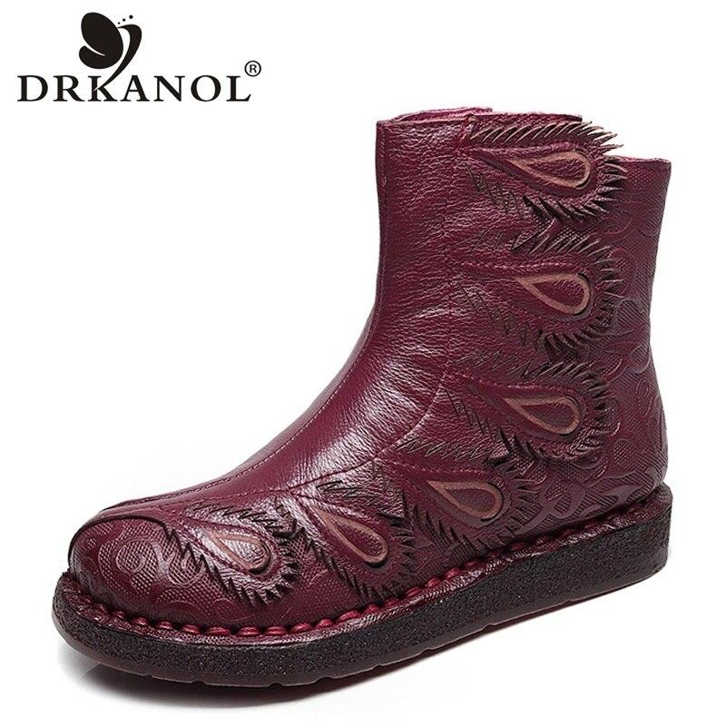купить DRKANOL 2018 Autumn Handmade Women Ankle Boots Vintage Genuine Leather Boots Women Flat Shoes Side Zipper Elegant Feather Boots по цене 2673.32 рублей