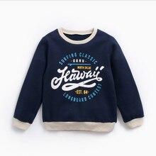 Свитер для мальчиков; детская теплая одежда с буквенным принтом; бархатная утепленная футболка; осенне-зимняя детская рубашка