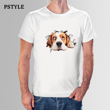 PSTYLE 2018 men summer short sleeve t shirt happy dog t-shirt animal print tshirt casual man white modal tee tops dropshipping все цены