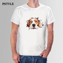 PSTYLE 2018 men summer short sleeve t shirt happy dog t-shirt animal print tshirt casual man white modal tee tops dropshipping