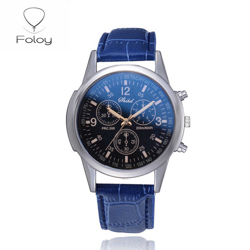 Foloy Business Sport Mannen Horloge Kwaliteit Mode Cijfers Faux Leather Analoge Quartz Gentleman Horloges Armband Klok Gift