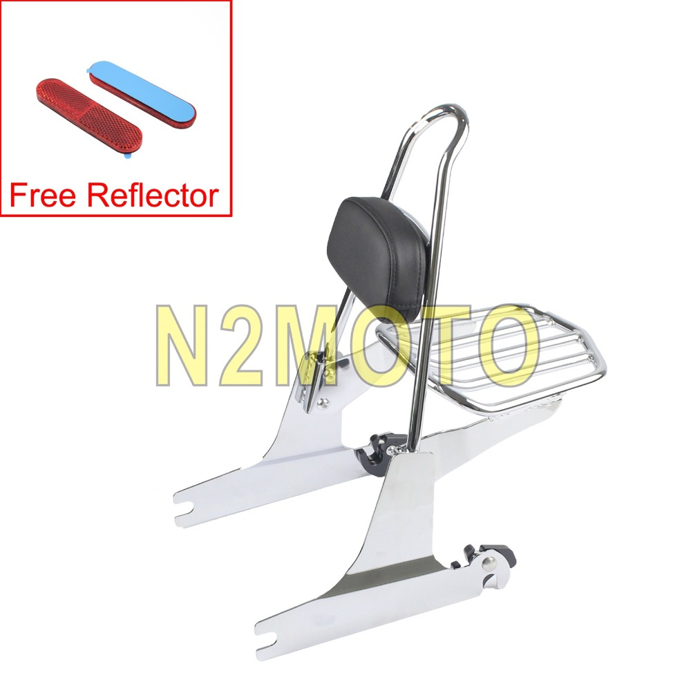 Chrome High Performance Motorcycle Detachable Luggage Rack Sissy Bar Tall Backrest Pad for Harley Dyna Super