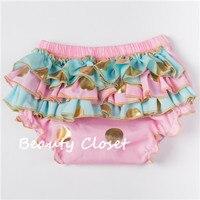 Newborn Baby Bloomer Summer Style Baby Girl Gold Polka Dot Ruffle Bloomer Baby Shorts