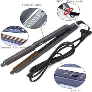 Image 5 - Profesyonel sıcaklık kontrolü titanyum elektronik saç düzleştiriciler oluklu Crimper dalga doğrultma demir Styling aracı